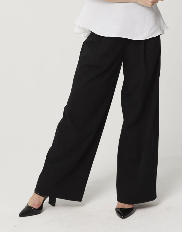 One P Wide Leg Pants in Black.