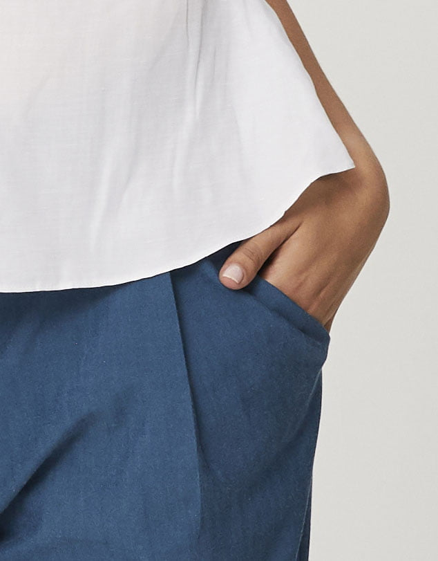 One P Wide Leg Pants in Moroccan Blue.