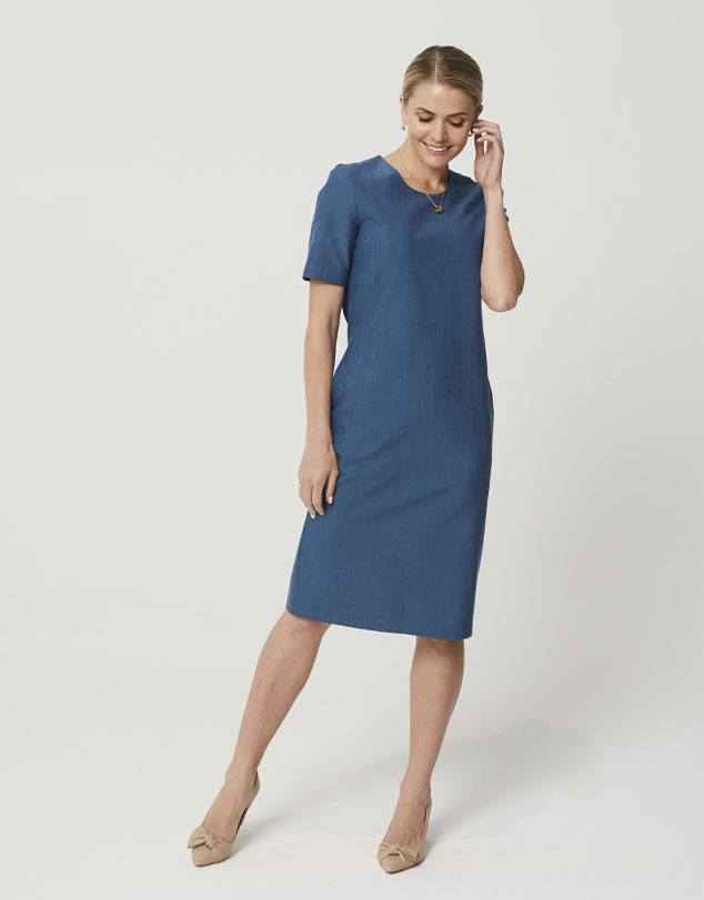 One P Sheath Dress in Moroccan Blue. This dress follows the curves of your body giving you a beautiful silhouette without being restrictive and uncomfortable.