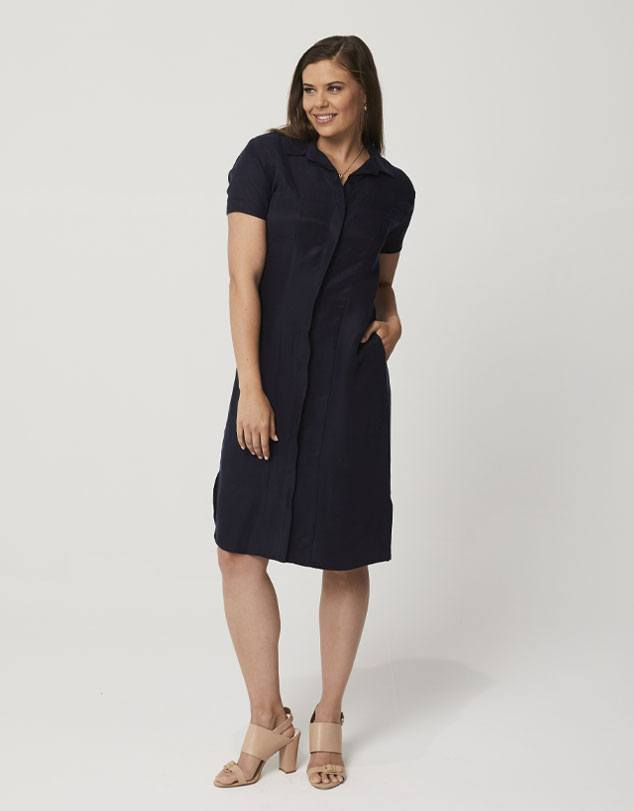 One P Shirt Dress in Navy. This dress has been designed to shape your body in the right places.