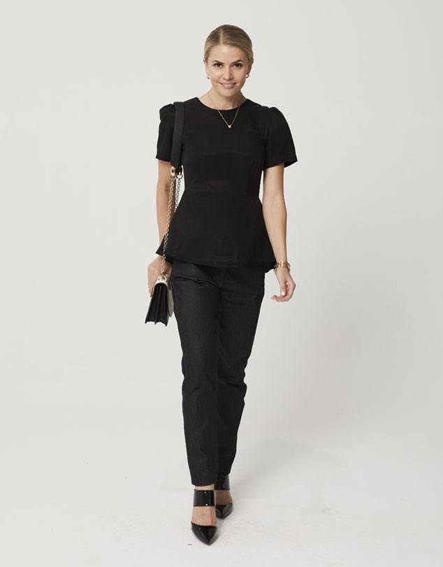One P Peplum Top in Black. Designed with a small gather at the shoulder for a little touch of feminity.