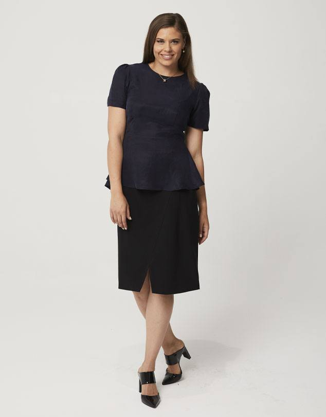 One P Peplum Top in Navy. Designed with a small gather at the shoulder for a little touch of feminity.