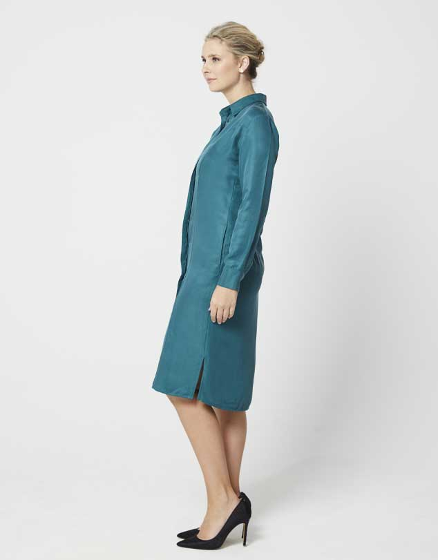One P Design Long Sleeve Shirt Dress Jungle Green
