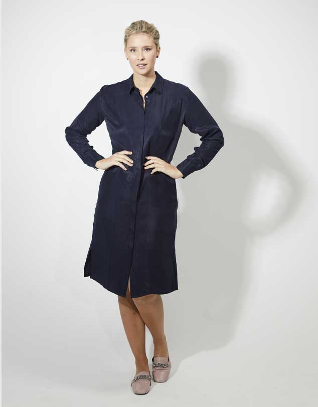 One P Design Long Sleeve Shirt Dress Navy