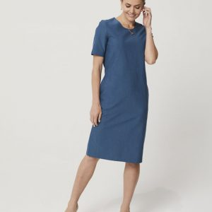 One P Sheath Dress in Moroccan Blue.