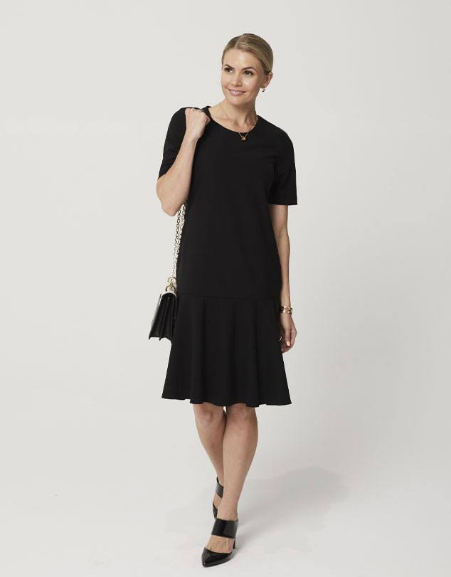 One P Drop Waist Dress in Black. A dress designed to be comfortable at work or play.