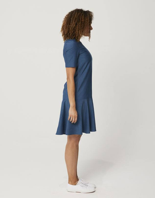 One P Drop Waist Dress in Moroccan Blue. A dress designed to be comfortable at work or play.