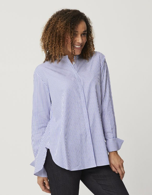 One P Short French Shirt Pinstripe.