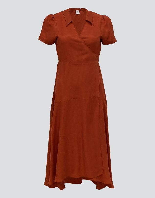 One P Design Short Sleeve Wrap Dress in Rust