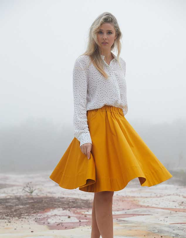 One P Design Round Skirt Mustard